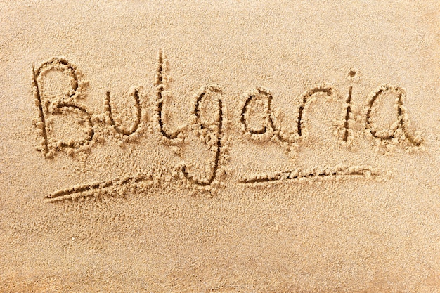 Bulgaria beach writing message conceito de férias de verão