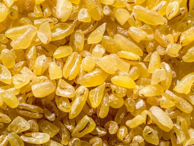 Bulgur de grãos secos crus, close-up, vista superior