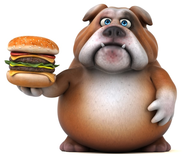 Bulldog divertido - ilustração 3d