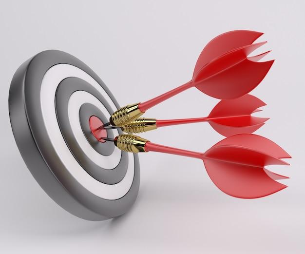 Bullseye com três dardos no meio