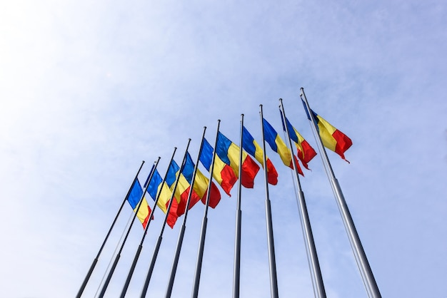 Bunch of romania flags