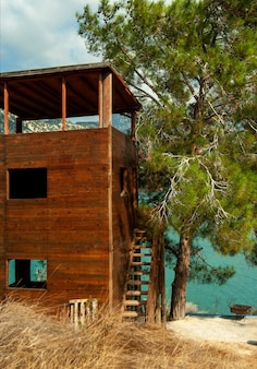 Bungalo de madeira vazio com telhado de palha na margem de um lago da floresta coberto de escadas sob uma árvore em um dia ensolarado de verão