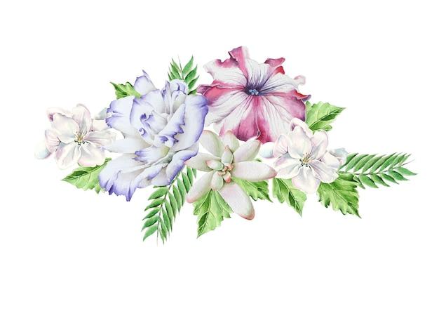 Buquê brilhante com flores. petúnia. eustoma. suculenta. ilustração em aquarela. desenhado à mão.