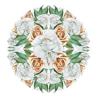 Buquê de aquarela círculo com flores. ilustração. desenhado à mão.