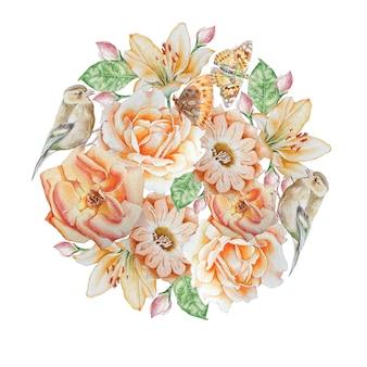 Buquê de aquarela com flores, borboletas e pássaros
