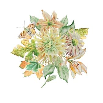 Buquê de aquarela com flores e borboletas
