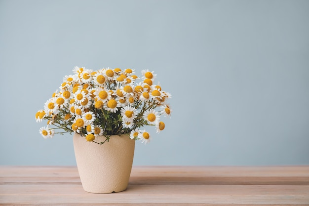 Buquê de flores de camomila frescas em um vaso na mesa contra um fundo cinza