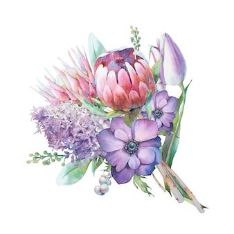 Buquê de flores em aquarela. mão pintada ilustração botânica com lilás, flores protea, tulipa, anêmonas, isoladas no fundo branco. arte floral