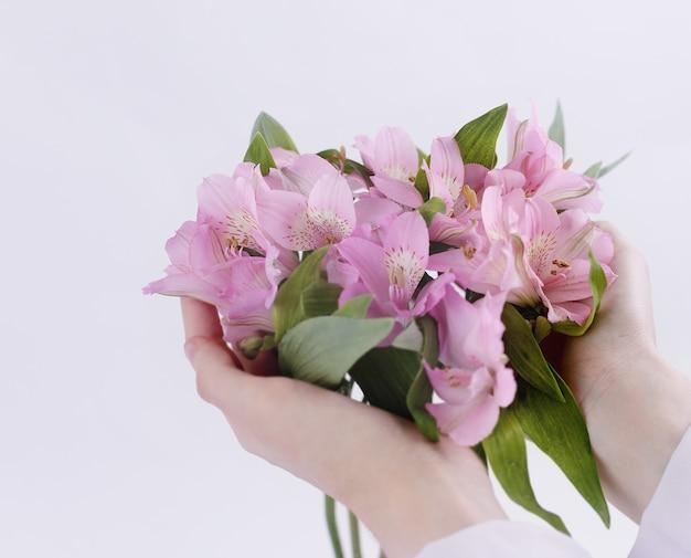 Buquê de flores em mãos femininas isoladas em uma luz