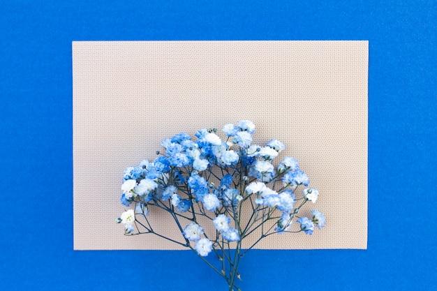 Buquê de flores gypsophila branco-azul. lugar para o seu texto, copie o espaço. fundo delicado bonito para letras, cartão postal.