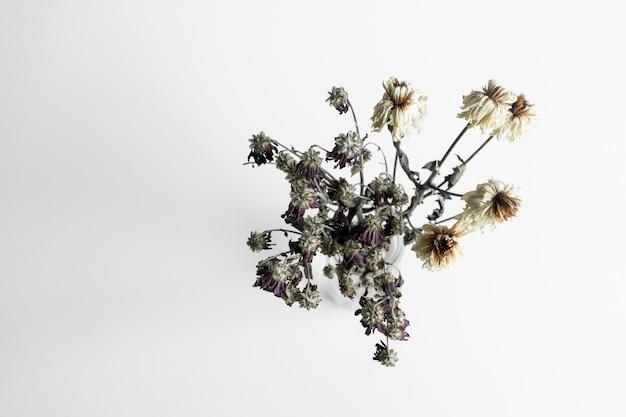 Buquê de flores murchas em branco