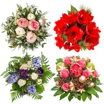 Buquê de flores para feriados de natal e ano novo. rosas, amarílis, jacinto, protea isoladas no fundo branco