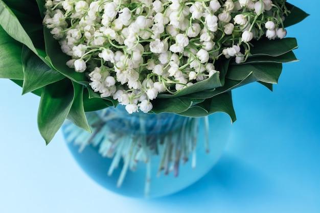 Buquê de lírios brancos do vale em folhas verdes em um vaso de vidro sobre um fundo azul suave