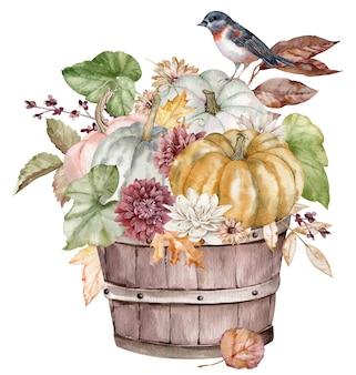 Buquê de outono em aquarela com abóboras, folhas de outono, flores e frutos. cartão do dia de ação de graças com um pássaro isolado no fundo branco.