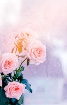 Buquê de rosas cor de rosa, flores românticas