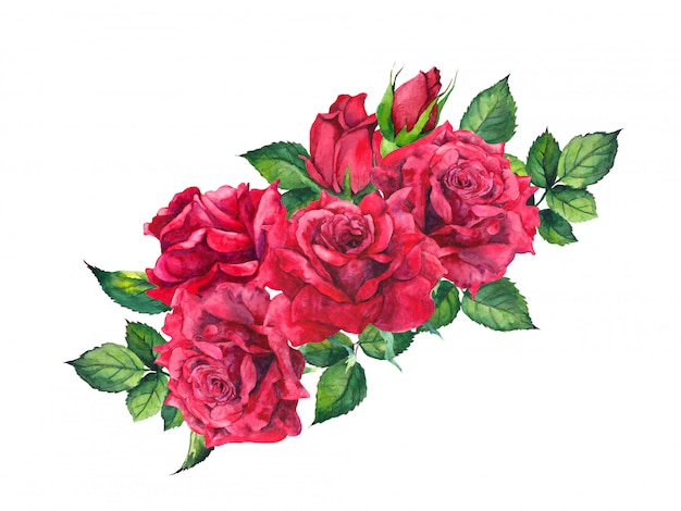 Buquê de rosas vermelhas. pintura em aquarela, composição romântica