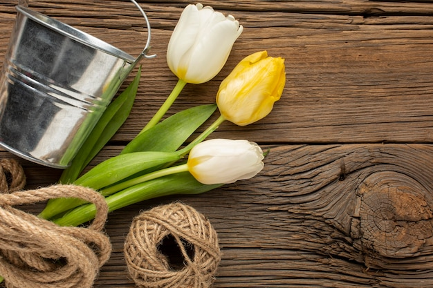 Buquê de tulipas com corda e balde