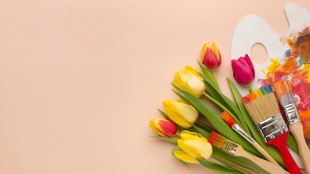 Buquê de tulipas com espaço de cópia