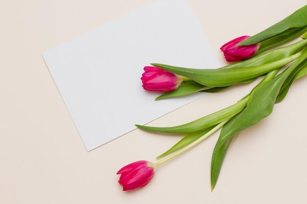 Buquê de tulipas cor de rosa com folhas verdes deitada na mesa com o cartão em branco