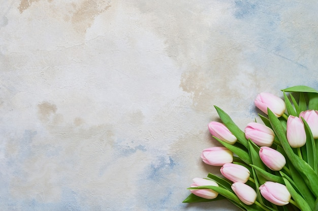 Buquê de tulipas cor de rosa na vista superior do espaço da cópia do plano de fundo colorido