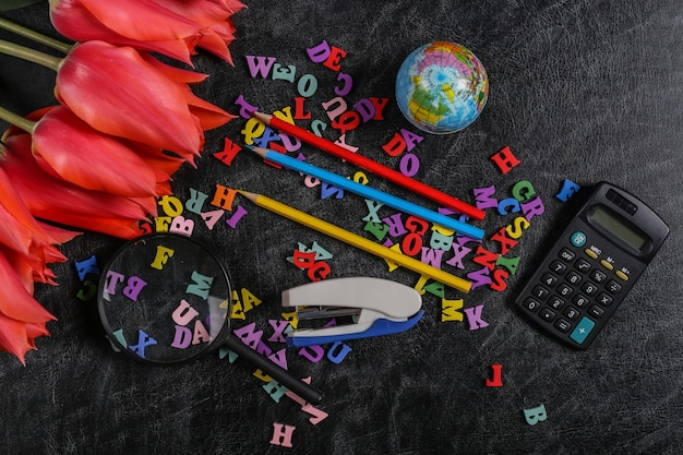 Buquê de tulipas e material escolar no quadro de giz. dia do conhecimento, de volta às aulas. vista do topo