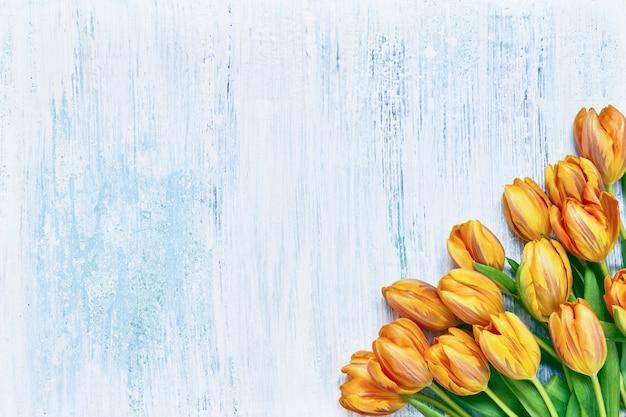 Buquê de tulipas laranja em fundo azul claro cópia espaço vista superior cartão de felicitações de fundo de férias