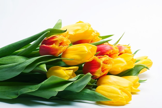 Buquê de tulipas vermelhas e amarelas de primavera