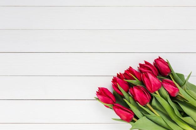 Buquê de tulipas vermelhas em um fundo de madeira branco, vista superior, espaço de cópia