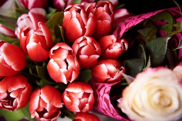 Buquês de close-up de tulipas vermelhas. buquê de presente de flores.