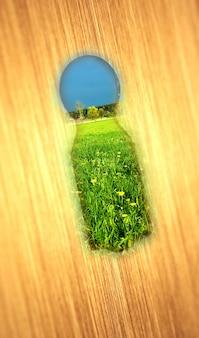 Buraco da fechadura com um campo verde