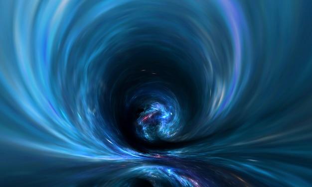 Buraco de minhoca abstrato ou buraco negro no espaço com gás e poeira
