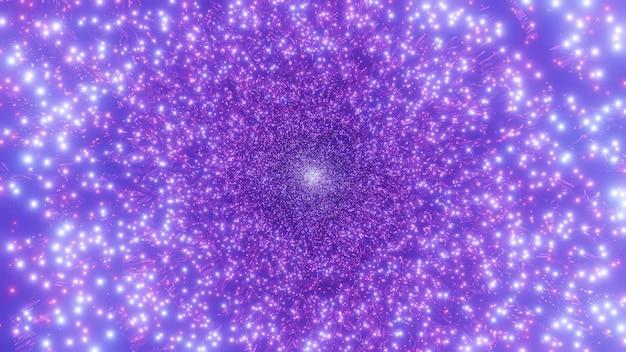 Buraco de minhoca de galáxia de partículas espaciais brilhantes de 4k voam através do fundo da ilustração 3d