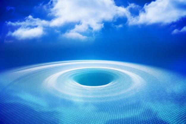Buraco gerado digitalmente com luz azul