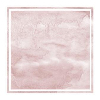 Burgundi mão desenhada moldura quadrada aquarela textura de fundo com manchas