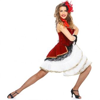 Burlesco. dançarino atraente nos calcanhares