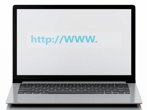 Busca da web 3d no portátil. conceito de internet