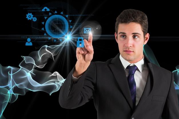 Businesman em uma cena tecnológico