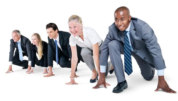 Business people startup competition conceito de início de corrida
