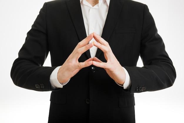 Businessmans dedos tocando uns aos outros