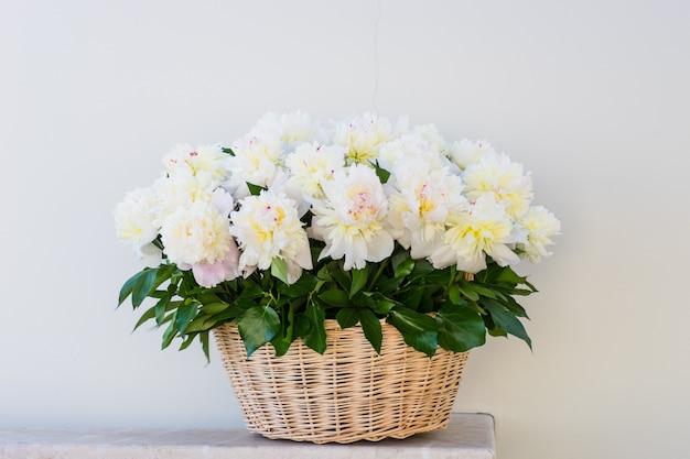 Busket lindo cheio de peônias brancas