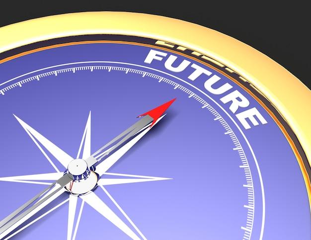 Bússola abstrata com agulha apontando para a palavra futuro. conceito futuro