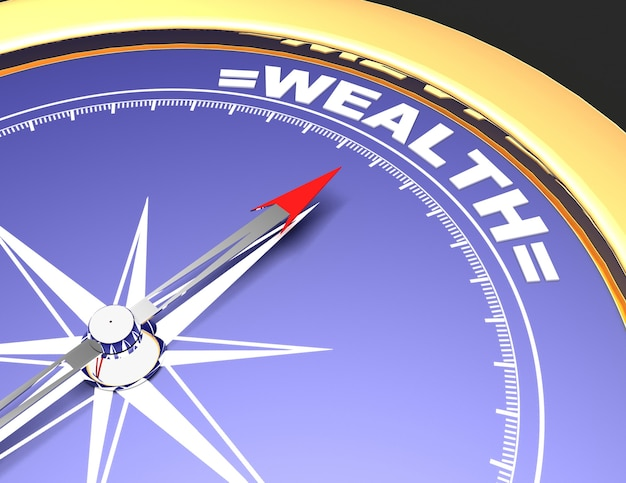 Bússola abstrata com agulha apontando para a palavra riqueza. conceito de riqueza