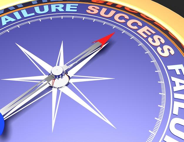 Bússola abstrata com agulha apontando para a palavra sucesso. conceito de sucesso
