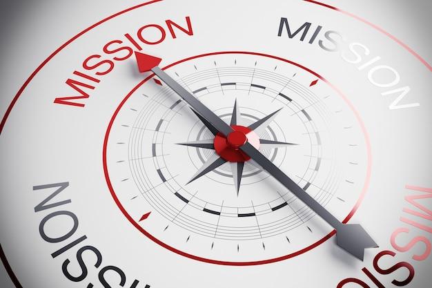 Bússola com seta marca a palavra missão