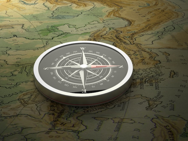 Bússola moderna e map