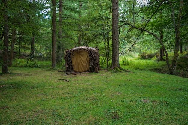 Cabana de madeira da floresta. cena verde no país basco