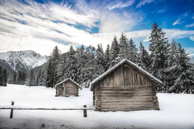 Cabana no panorama de inverno