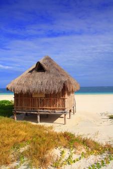 Cabana, palapa, cabana, mar do caribe, praia, méxico