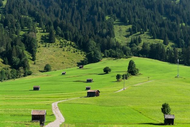 Cabanas de madeira em prados verdes, bela paisagem de fundo
