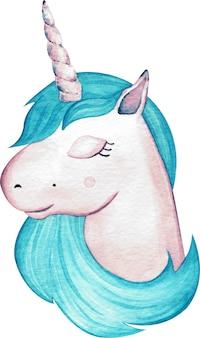Cabeça bonito do unicórnio da menina da aquarela com o cabelo azul isolado. ilustração desenhados à mão.